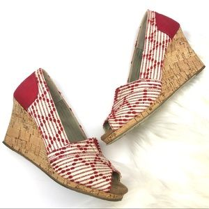 TOMS red and white printed peep toe wedge